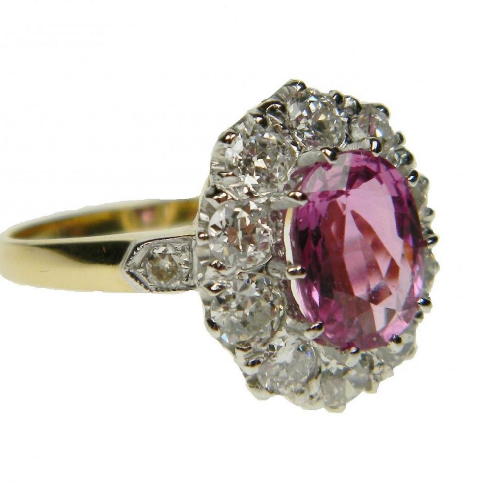 Natural Raspberry Pink Sapphire And Diamond Ring Db Gems