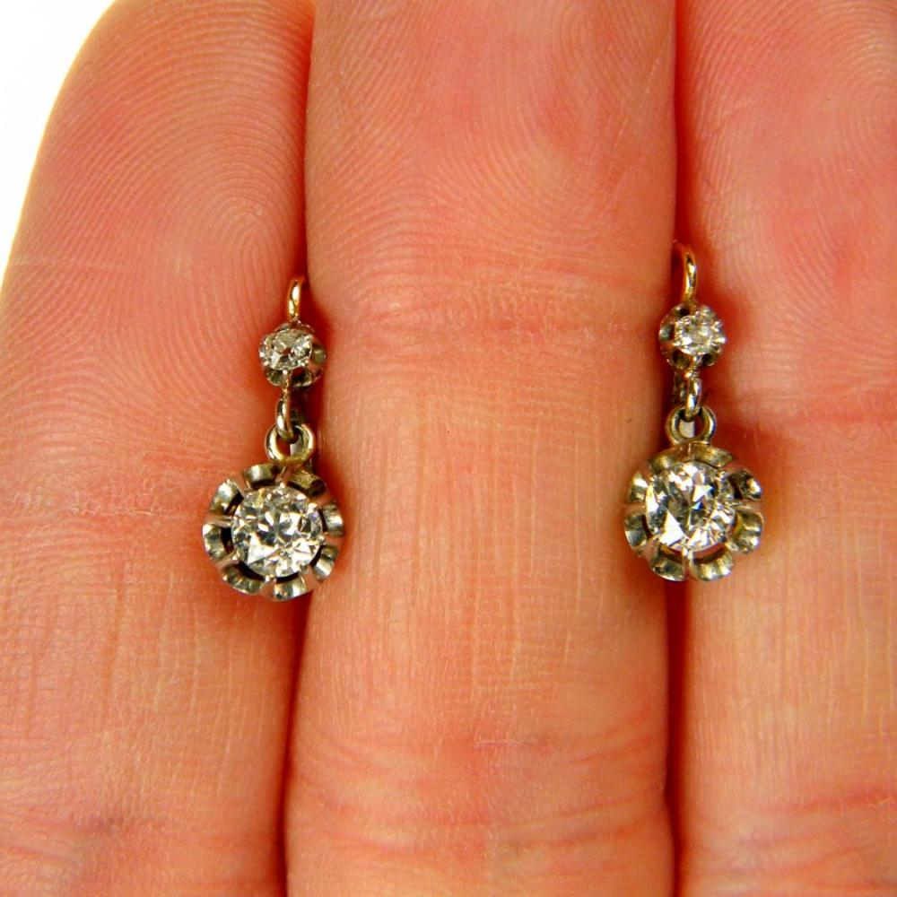 12b3ae77800ab4 Antique French Drop Diamond Earrings | DB Gems