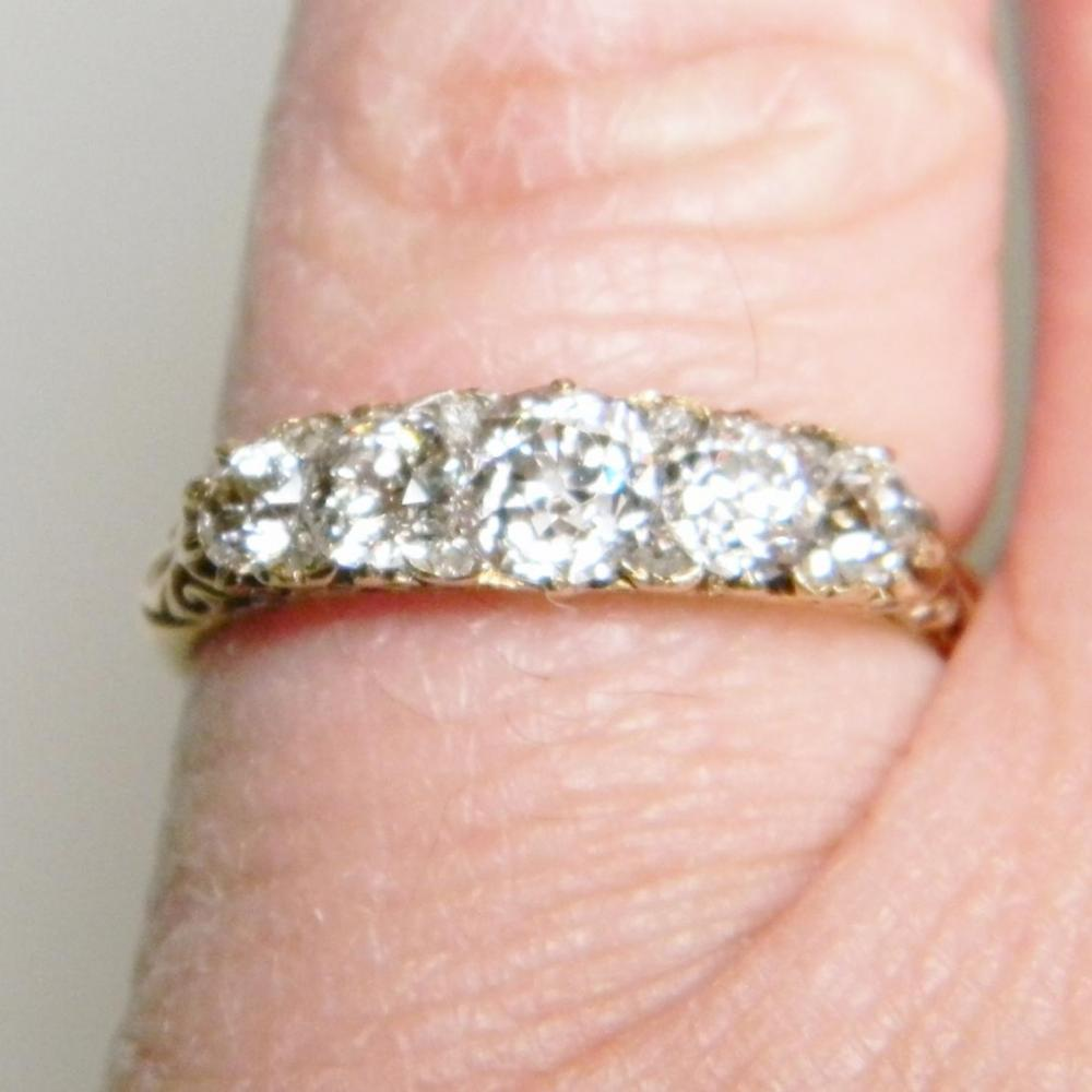 Victorian Five Stone Diamond Carved Half Hoop Ring | DB Gems