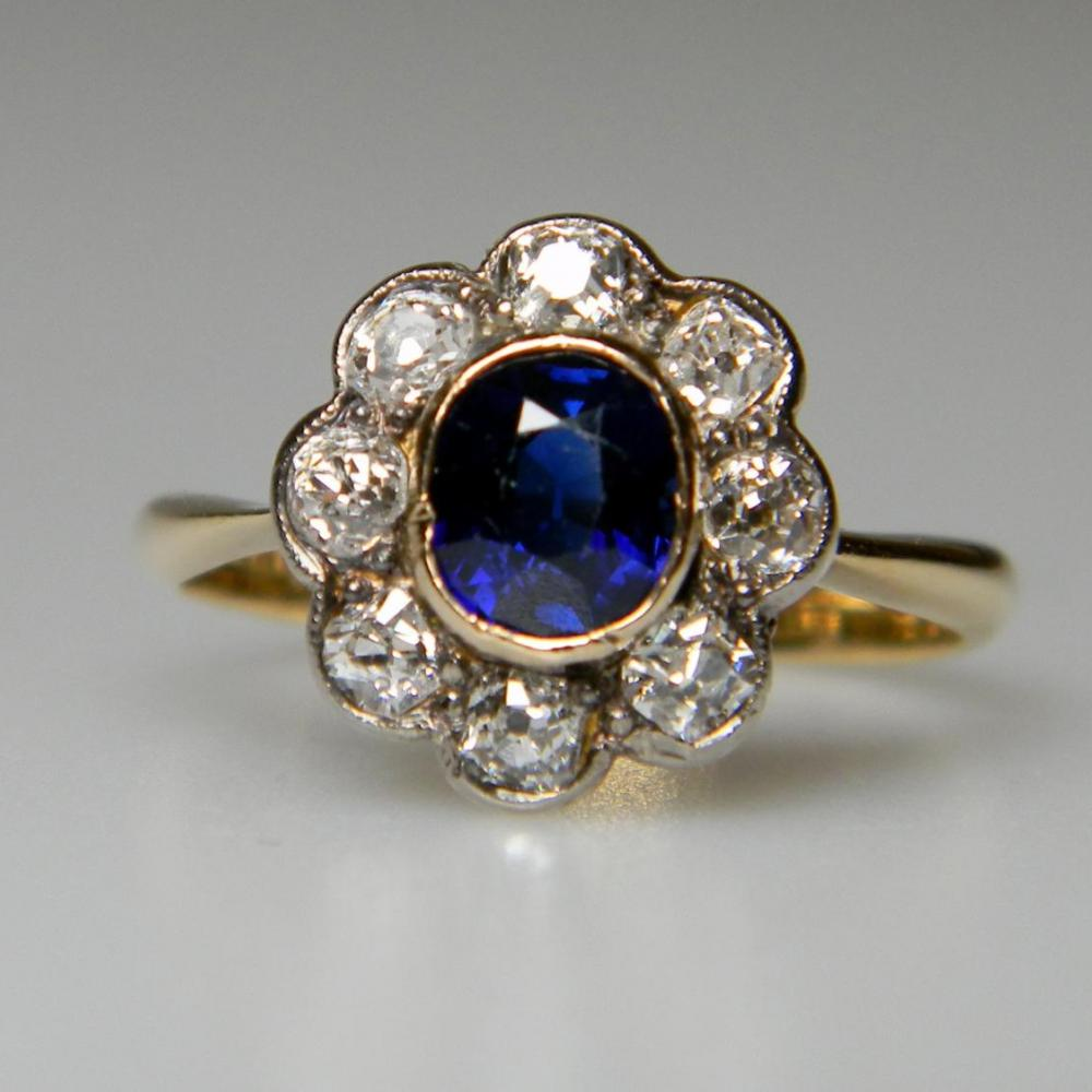 Antique Sapphire And Diamond Cluster Ring Db Gems