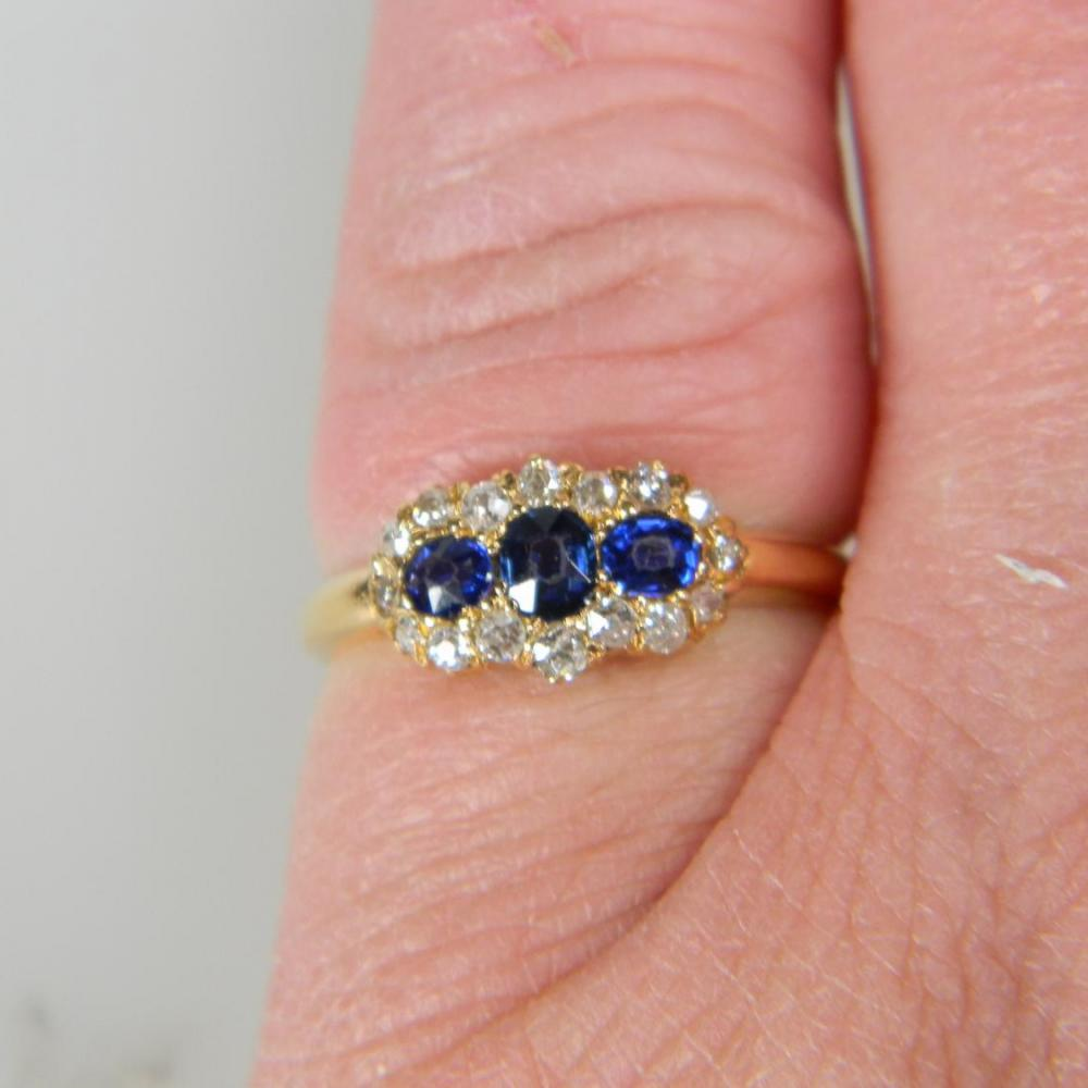 Antique Sapphire and Diamond Three Stone Cluster Ring | DB Gems