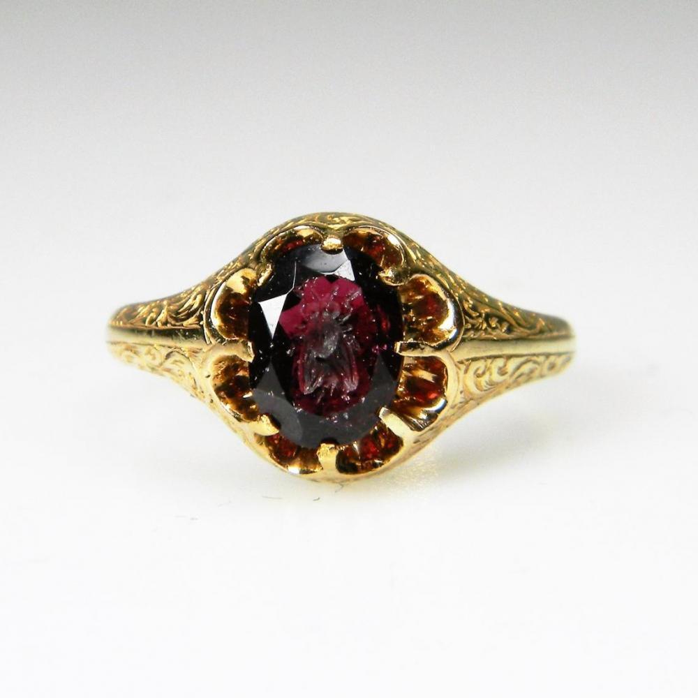 antique garnet intaglio ring db gems