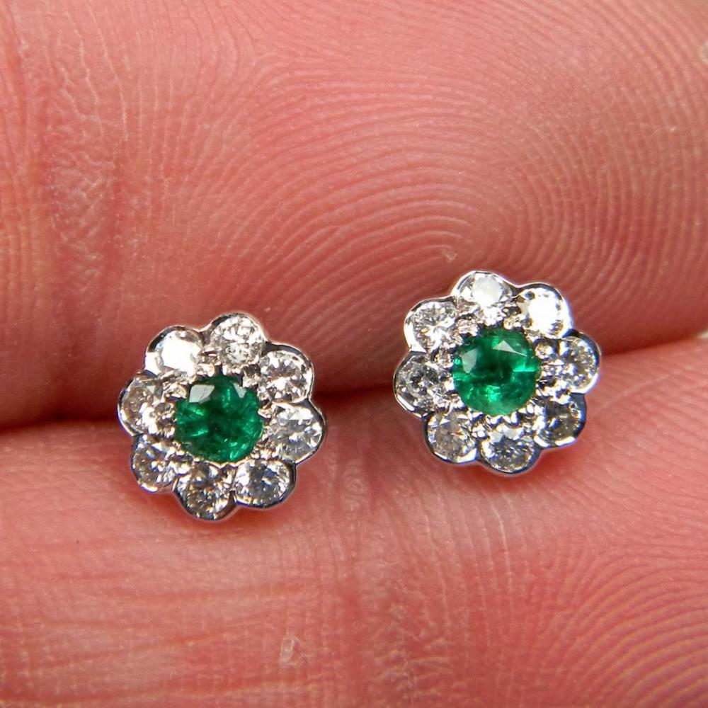 Pair Of Small Emerald And Diamond Cluster Earrings Db Gems