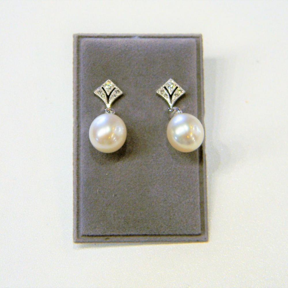 Wedding Pearl And Diamond Earrings Db Gems