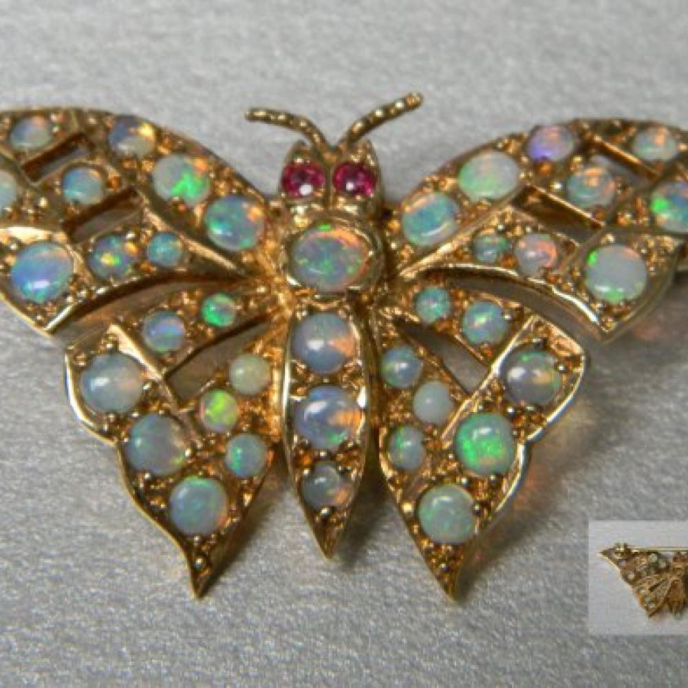 unknown rhinestones opal stories s vintage maker foil with collectors faux weekly glass and brooch